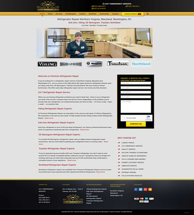 Refrigerator Repair Web Design