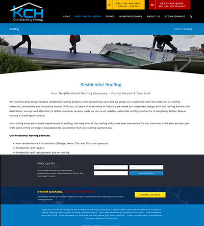 Web Design Roofing Contractor