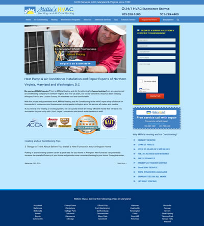HVAC website design Virginia